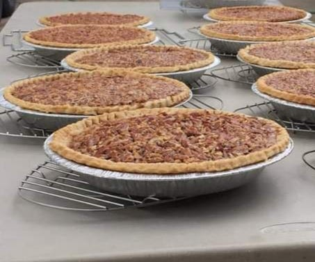 Lovina's pecan pies for a benefit sale.