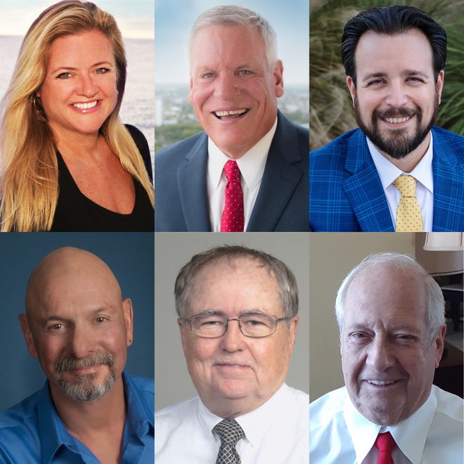Marco Island City Council candidates: Becky Irwin, City Councilor Greg Folley, City Council Vice chair Jared Grifoni, Richard Blonna, Phares Heindl and Joseph Rola.