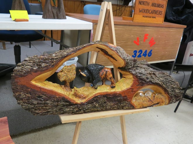 The North Arkansas Woodcarvers Club meet on Thursdays at 8 a.m. at VFW Post 3246, located on the corner of 7th and Gray streets. Anyone interested in woodcarving is encouraged to stop by and visit with the woodcarvers. Shown above are oak tree carvings by Kim Valentine that were on display at one of the group's recent meetings.