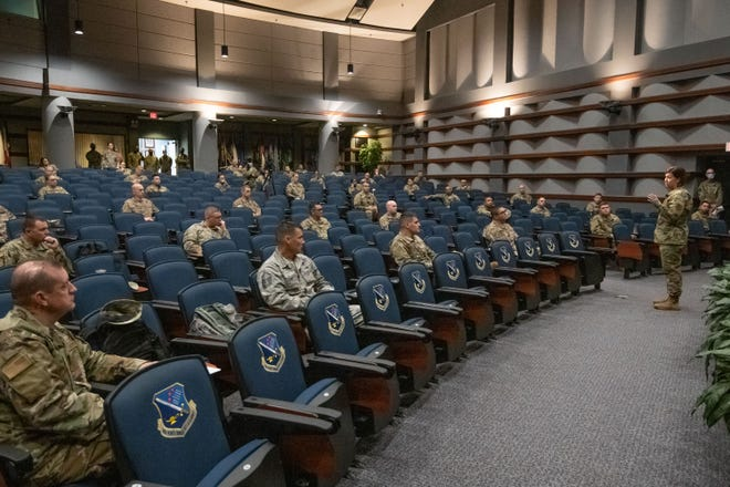 Chief Master Sergeant of the Air Force JoAnne S. Bass speaking at the Senior Noncommissioned Officers Academy.