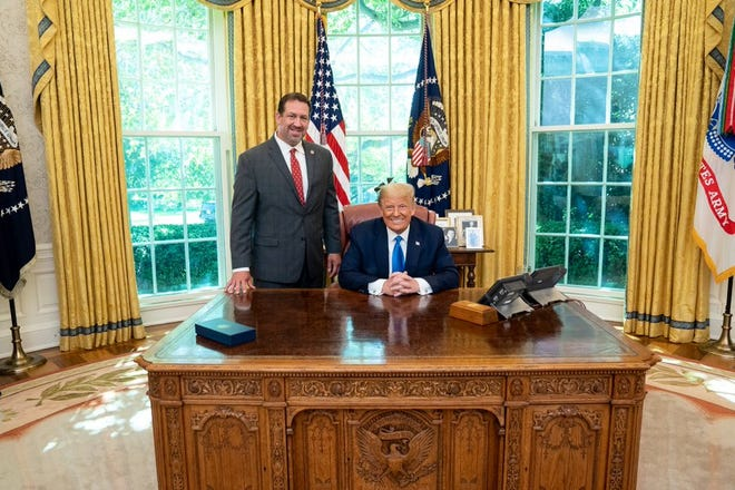 Rep. Jeremy Faison poses Sept., 23, 2020 with President Donald Trump.