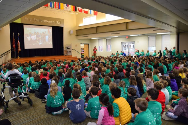 Students gather in Frist Performance Hall at Julia Green Elementary School in Nashville. The school was named a 2020 National Blue Ribbon award winner by the U.S. Department of Education.