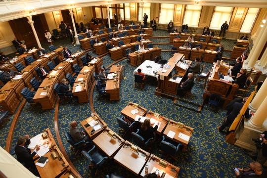 The budget debate takes place at the Assembly Chamber in Trenton State House on September 24, 2020.