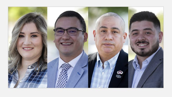 Coachella City Council candidates from left to right: Denise Delgado, Emmanuel Martinez, Philip Bautista and Neftalí Galarza.