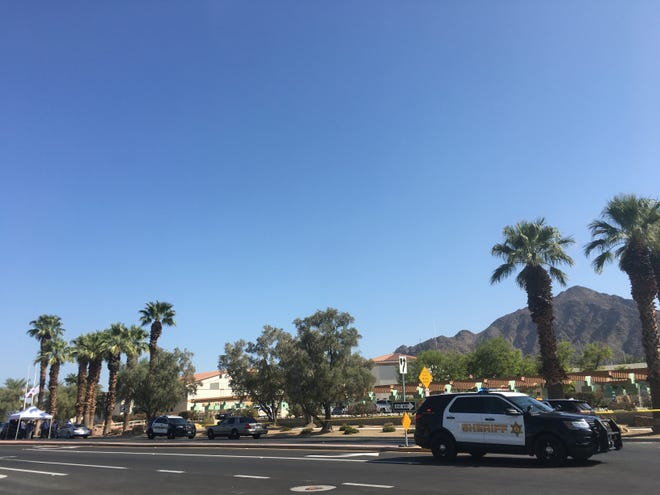 The Riverside County Sheriff's Department investigates a shooting involving a deputy and suspect on Sept. 24, 2020, in La Quinta. The shooting was reported just before 1:30 p.m. at Washington Street and Calle Tampico.