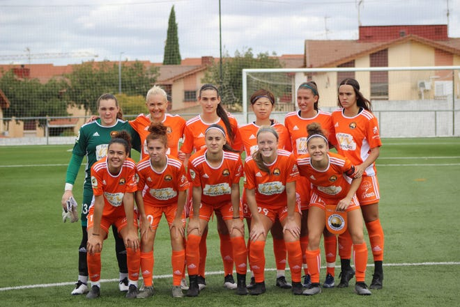 Gulf Breeze's Kiersten Edlund (front, second from right) during a training session with her professional team C.D. Parquesol in Spain. Edlund is one of the few soccer players from Pensacola to play professionally overseas.