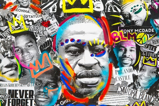 """George Floyd, Trayvon Martin, Sandra Bland and more photos make up the """"Say Their Names"""" art piece. A collaborative effort, the collage features cutouts of the faces and names of Black people whose lives were taken at the hands of law enforcement. The mobile artwork will migrate to different Lancaster, Pa., businesses like a """"silent protest."""""""