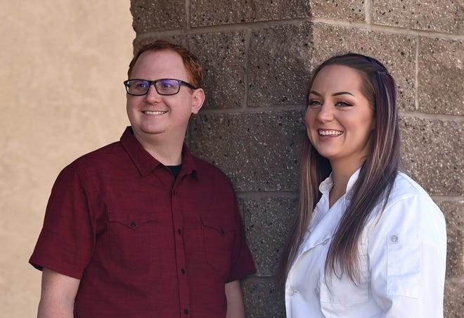 Benjamin Griffith, founder of Homebite, a new online marketplace for personal chefs, takes a moment with Nicole Kersting, a pastry chef at Charlie Palmer Steak Reno and a Homebite chef, on Sept. 24, 2020.