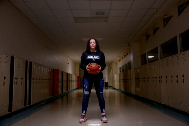McKay High School basketball player Skye Miller poses for a portrait on Wednesday, Sept. 23, 2020 at McKay High School in Salem, Oregon.