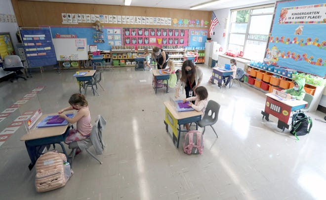 The desks in a kindergarten class are spaced far apart at Stony Point Elementary School on Sept. 24, 2020.