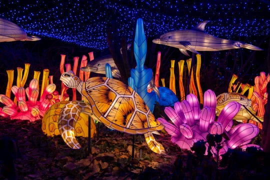An underwater animal lantern scene at the Bronx Zoo Holiday Lights in 2019.