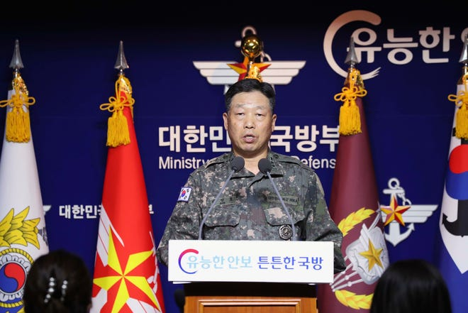 Lt. Gen. Ahn Young Ho, a top official at the South Korean military's office of the Joint Chiefs of Staff, speaks during a press conference at the Defense Ministry in Seoul, South Korea, Thursday, Sept. 24, 2020. South Korea said Thursday North Korean troops shot a South Korean government official who may have attempted to defect.