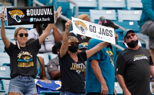 Jacksonville Jaguars fans cheer during the second half against the Indianapolis Colts at TIAA Bank Field.