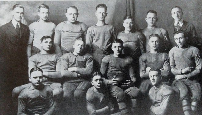 Members of the 1920 Ashland College football team from the school's 1921 yearbook. The 1920 team was the first team in the 100-year history of Ashland University football.