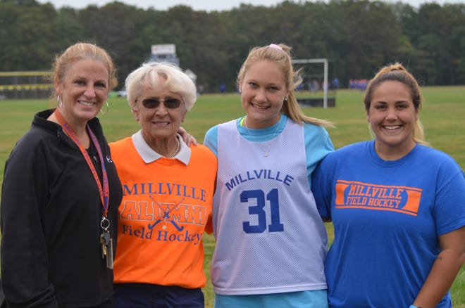 Corrine Veight, right, poses for a picture with three generations of the McCarthy family. Veight is the new Millville field hockey coach. She takes over for her grandmother, Claudia McCarthy (second from left), who led the program for 50 years. From left: Megan Finch-Weldon, Claudia McCarthy, Casey Etter and Corrine Veight.