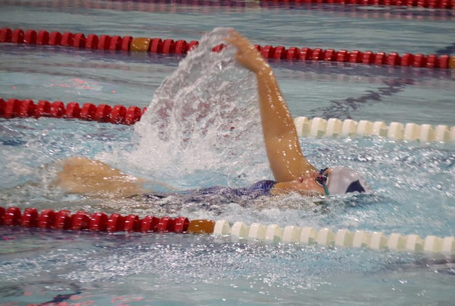 Mya Bower and the Crookston girls' swimming team is still looking for its first dual win of the season.