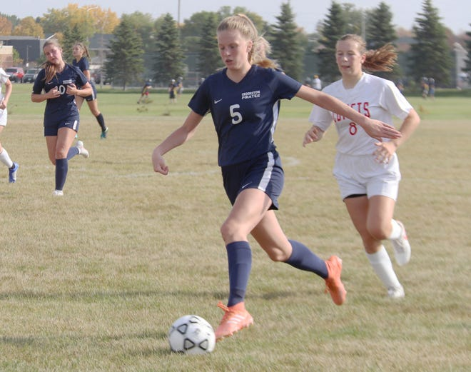 Cassie Solheim in a game against Hillcrest Lutheran on Thursday, Sept. 24. Solheim scored a goal in Crookston's 2-1 loss at Pelican Rapids Monday.