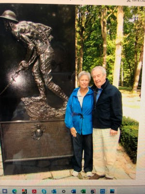 """Wildwood's Pat Paxton and her late husband, Marine Capt. Jack Paxton, were """"frequent fliers"""" on military hops - including one which took them to France to visit the famed World War I battlefield at Belleau Wood."""
