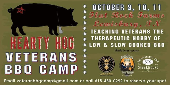 Hearty Hog will host Veterans BBQ Camp at Flat Rock Farms in Lewisburg Oct. 9-11. The weekend outing will include camping and how hobbies like slow cooked meats can be therapeutic. (Courtesy graphic)