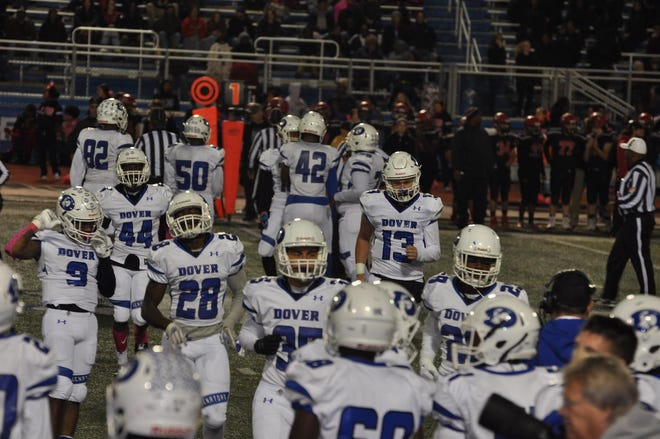 Dover High School's football team plays Polytech during the 2019 homecoming game.