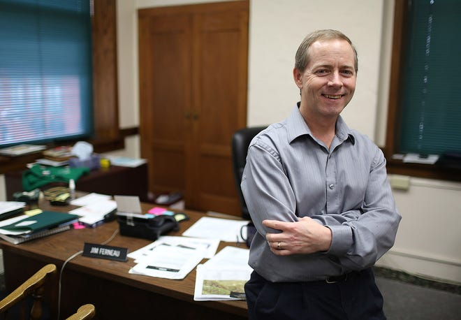 Burlington City Manager Jim Ferneau is shown in his office April 11, 2013, at City Hall. Ferneau, who started his job April 23, 2012, has tendered his resignation.