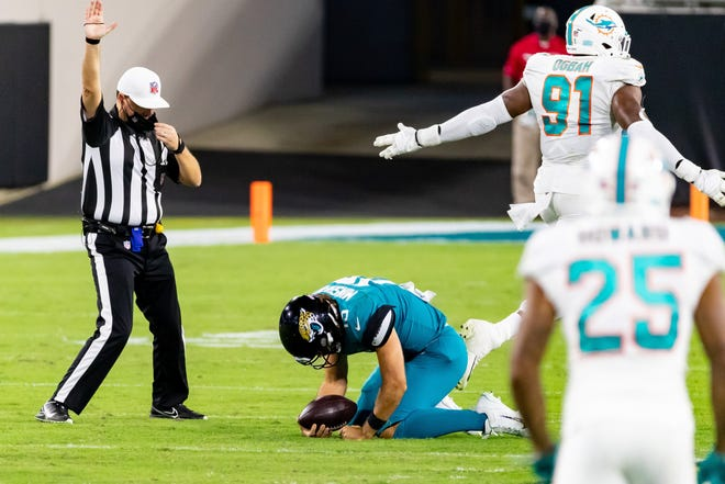 Jaguars quarterback Gardner Minshew had two turnovers and was sacked four times in last week's 31-13 loss to the Miami Dolphins at TIAA Bank Field. Matt Pendleton/For The Times-Union