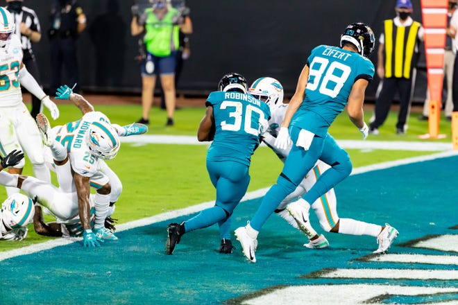 Jaguars RB James Robinson needs to be utilized more in the second half of games and it might happen Sunday against the Texans. Matt Pendleton/Special to the Times-Union
