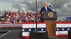 President Donald Trump addresses an overflow crowd Thursday, September 24, 2020 at the Great American Comeback Event at the Cecil Commerce Center in Jacksonville, Florida.