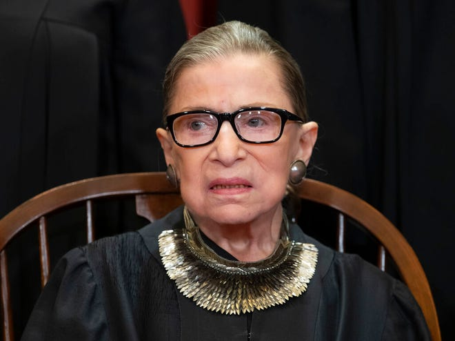In this Nov. 30, 2018, file photo, Associate Justice Ruth Bader Ginsburg, nominated by President Bill Clinton, sits with fellow Supreme Court justices for a group portrait at the Supreme Court Building in Washington. The Supreme Court says Ginsburg has died of metastatic pancreatic cancer at age 87.