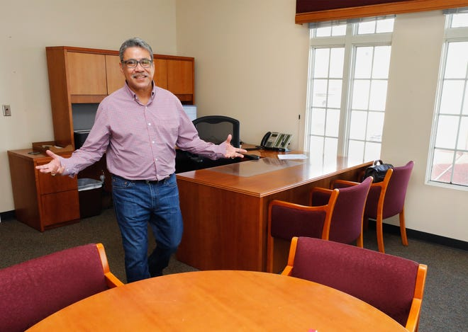 Tony Delgado, outgoing Lakeland city manager, in his now empty office at city hall in Lakeland. Delgado has retired after five years as city manager and 23 years with the city.