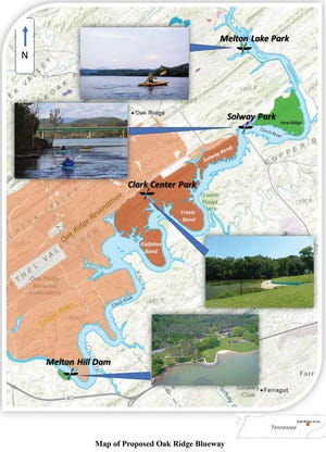 "This map shows the proposed ""Blueway"" on the Clinch River and the four points it would connect."