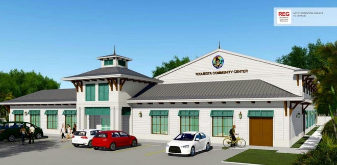 A rendering shows the planned front appearance of the Tequesta community center along Seabrook Road. [PROVIDED BY THE VILLAGE]