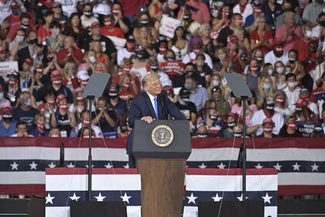 President Donald Trump speaks to supporters at a campaign rally, Thursday, Sept. 24, 2020, in Jacksonville, Fla. (AP Photo/Stan Badz)