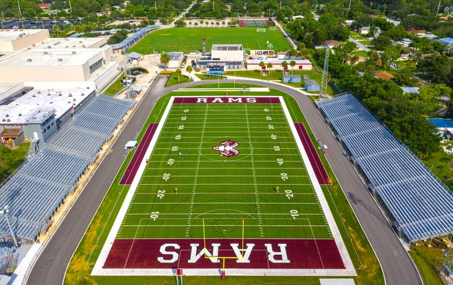Riverview High School now has a all new astroturf field and rubberized track. Photographed on Wednesday, September 16, 2020, in Sarasota.