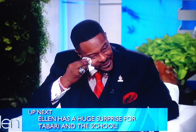 Tabari Wallace was brought to tears during The Ellen Show after hearing from his West Craven students and talking about his late daughter Alexandria.