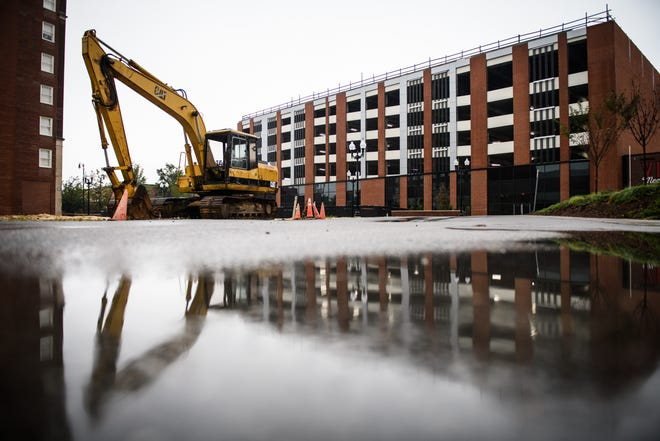 The office and hotel project on top of the parking deck on Hay Street in downtown Fayetteville have been put on hold for now.