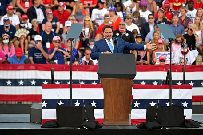 Florida Gov. Ron DeSantis speaks to supporters at a campaign rally for President Donald Trump on Thursday.