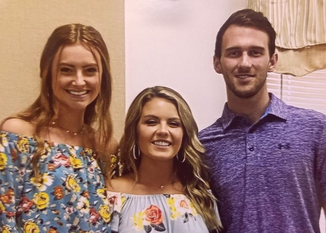 Three Southern Alamance High School graduates each received a $1,000 scholarship from the Mountain View Ruritan Club. From left, Peyton Pugh is the daughter of Kevin and Trina Pugh, Aspen Wood is the daughter of Neal and Julie Wood, and Luke Day is the son of Tommy and Jamie Day.