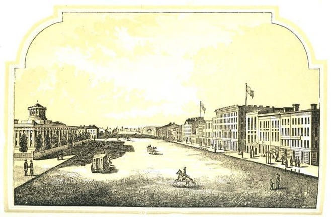 Statehouse Square is depicted in 1854; the artist speculated on what it might look like when it was finished. The existence of the Statehouse in Columbus is one example of a successful historical-preservation effort.