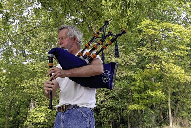 Scott Caputo, a member of the Capital City Pipes and Drums and the Highland Dancers, practices his bagpipes Sept. 23 at Whetstone Park. Caputo said he and others often practice at the park.