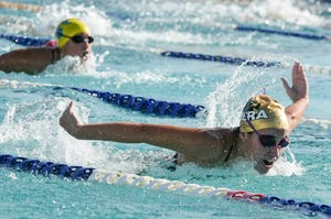 Marin Chapon of Viera swims in the 100 butterfly during a meet in Titusville.