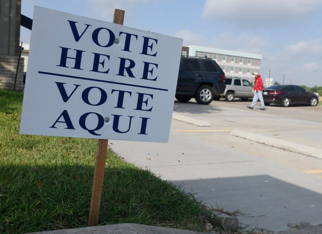 A sign indicating a vote center in Nueces County.