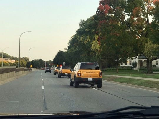 The all-new 2021 Ford Bronco Sport was sighted on Thursday, September 24, 2020 about 6:45 p.m. traveling southbound on Woodward Avenue south of I-696 in Pleasant Ridge.