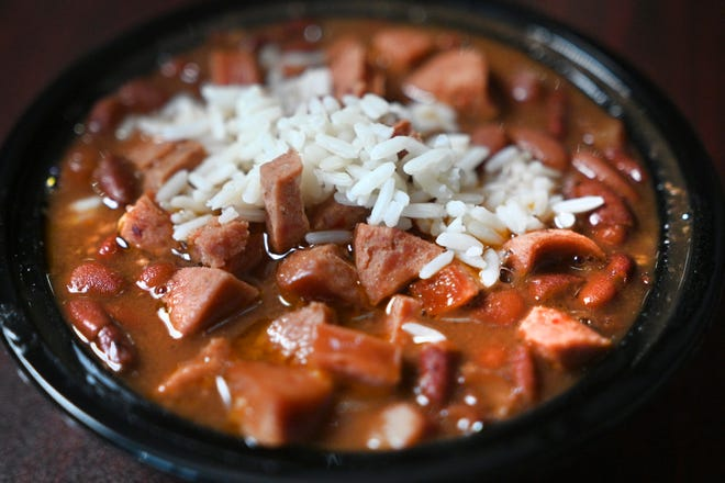 Red beans and rice with Cajun beef sausage from Louisiana Creole Gumbo in Detroit. A third location is now open in Farmington Hills.
