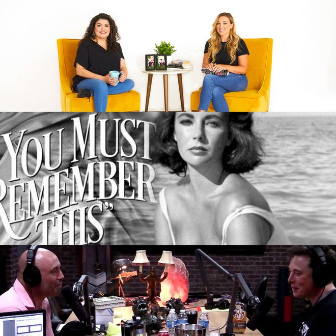 "(top to bottom) ""Crime Junkie"" is hosted by Brit Prawat and Ashley Flowers, ""You Must Remember This"" is hosted by Karina Longworth and ""The Joe Rogan Experience"" is hosted by Joe Rogan."