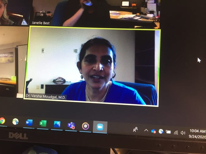 Dr. Varsha Moudgal, St. Joseph Mercy Livingston hospital's associate chief medical officer, talks about COVID-19 during a webinar hosted by Livingston County chambers of commerce, Thursday, Sept. 24, 2020.