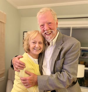 Marty Hintz is pictured with his wife of 22 years, Pam Percy. The two met when Pam was working as a radio producer and Marty appeared on the show as a spokesman for the Irish community in Milwaukee.