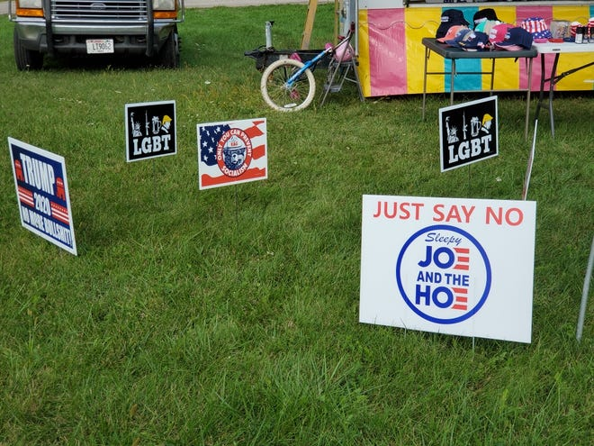 A political sign for sale in late September in North Prairie raised the ire of one legislative candidate for a derogatory term aimed at vice presidential candidate Kamala Harris.