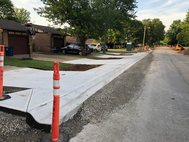 A nearly completed section of the street improvement project along Gentry Street in Mountain Home is seen above. The city's comprehensive street plan calls for all streets to have curbs, underwater drainage and a sidewalk.