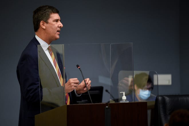 At-Large Council Member Bob Mendes discusses the charter amendment referendum based on 4GoodGovernment petition during an Election Commission meeting at the Howard Office Building in Nashville, Tenn., Friday, Sept. 25, 2020. The proposed referendum on the December ballot that would roll back Nashville's 34% property tax increase and curb the city's ability to raise future rates.